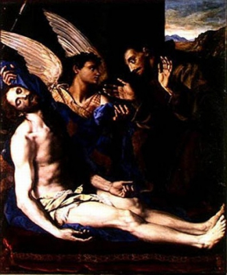The Body of Christ with an Angel and St Francis Assisi