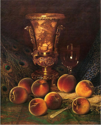 Still Life with Peaches and Marble Vase