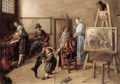 Painter in His Studio, Painting a Musical Company