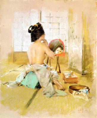 Geisha at Her Toilet