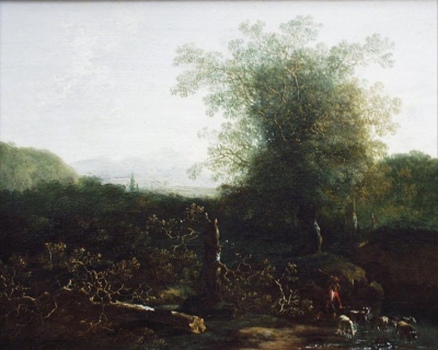 Landscape with Trees and a Ford
