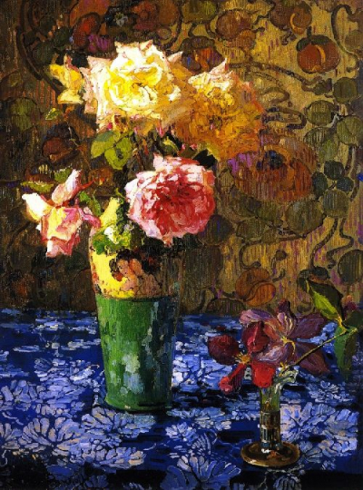 Roses in a aTall Glass c
