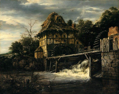 Two Undershot Water-Mills with Men Opening a Sluice