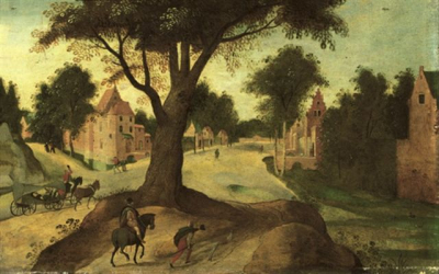 A Wooded Landscape With Travellers Entering A Town