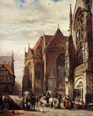 Figures in the Market Square in Front of the Martinikirche, Braunschweig