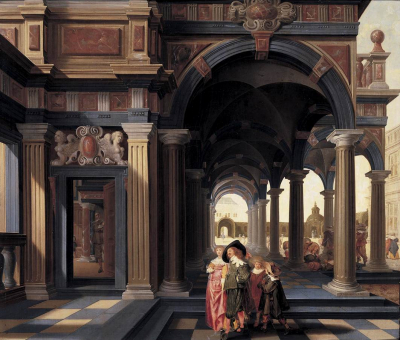Elegant Figures in a Loggia