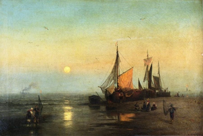 Moonlit Fishing Scene