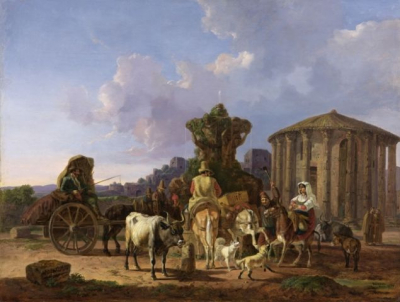 Peasants in front of the Temple of Vesta