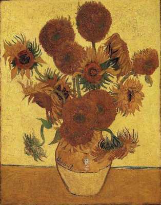 Still Life Vase with Fifteen Sunflowers Yellow