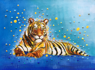 Colorful 3D Dots Tiger Painting