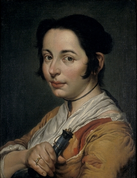 Young Peasant Woman Holding a Wine Flask