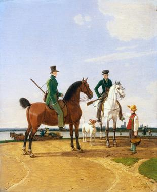 Hunter and Lord at the River Isar